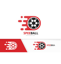 fast soccer logo combination speed ball vector image