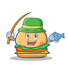Fishing burger character fast food vector