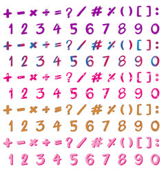 Font design for numbers and signs in many colors vector