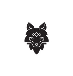 fox head black concept icon fox head flat vector image