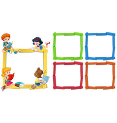 Frame template with happpy children reading books vector