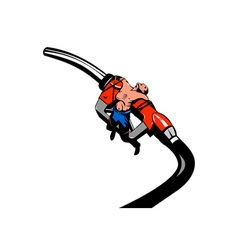 Fuel Pump Nozzle Man Tied Retro vector