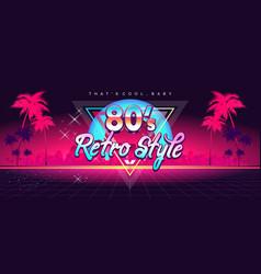 futuristic retro digital banner 80s style vector image