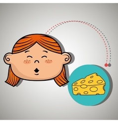 Girl cheese food eat vector
