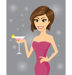 girl cocktail vector image