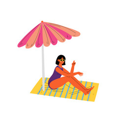 Girl sitting under sunshade parasol beautiful vector