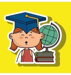 Girl student world map book vector