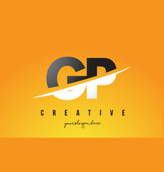 gp g p letter modern logo design with yellow vector image