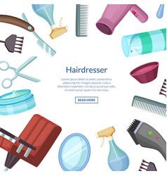 hairdresser or barber cartoon elements vector image