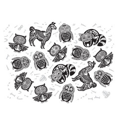 halloween set of sugar skull animals in contour vector image