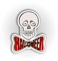 Happy Halloween sticker with skull on a white vector image