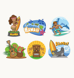 Hawaii cartoon badge design in set vector