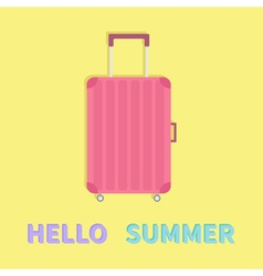 Hello summer Travel bag suitcase baggage Pink vector