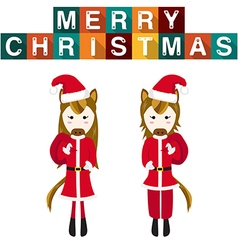 Horse Santa Claus vector