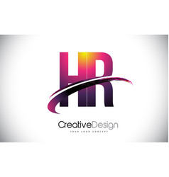 Hr h r purple letter logo with swoosh design vector