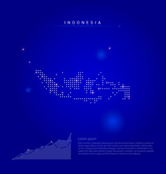 Indonesia illuminated map with glowing dots dark vector