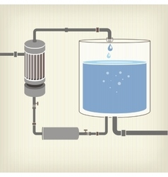 Infographics scheme with a liquid a water tank vector