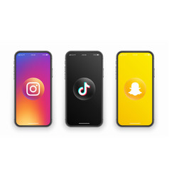 Instagram tiktok snapchat logo on iphone screen vector