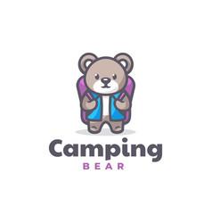 Logo camping bear mascot cartoon style vector