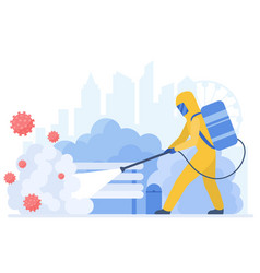 Man in special protective suit cleaning city from vector