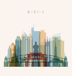 Manila skyline detailed silhouette vector