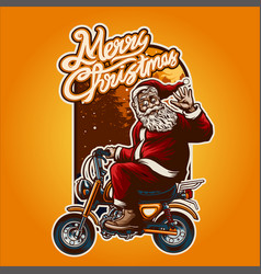 merry christmas smiley santa claus motorcycle vector image
