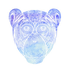 monkey with watercolor background decorated tribal vector image