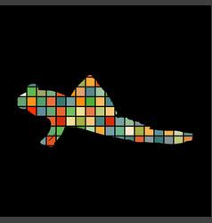Mudskipper fish mosaic color silhouette aquatic vector