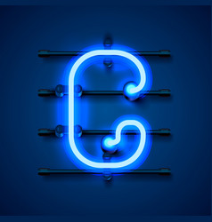 Neon font letter g art design signboard vector