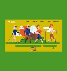 Nordic walking people landing page leisure sport vector