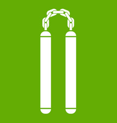 Nunchaku icon green vector