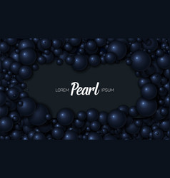 Of card placed in dark blue pearls vector