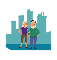 Old couple persons avatars characters vector