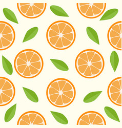 oranges and leaves seamless pattern vector image