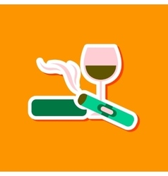 Paper sticker on stylish background cigar glass of vector