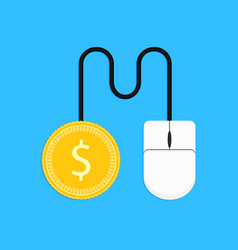 pay per click mouse and gold coin vector image