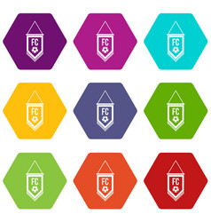 pennant with soccer ball icon set color hexahedron vector image