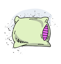 Pillow cartoon hand drawn image vector