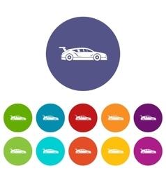 Rally racing car set icons vector image