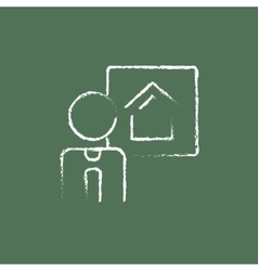 Real estate agent icon drawn in chalk vector