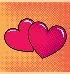 Red hearts over halftone background vector