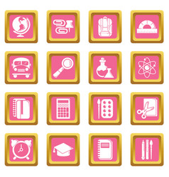 School education icons set pink square vector