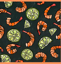 Seafood seamless pattern shrimp or prawn and vector