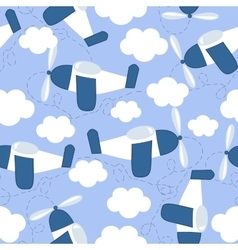 seamless pattern with flying in the sky airplanes vector image