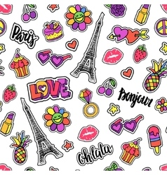 Seamless pattern with patch badges doodle vector