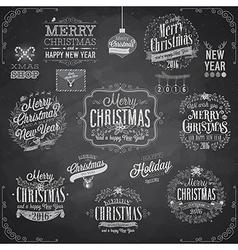 Set christmas emblems - chalkboard vector