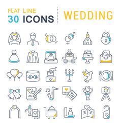 set line icons wedding vector image