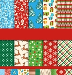 Set of 10 Seamless Bright Christmas Patterns vector