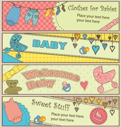 Set of 4 horizontal baby themed banners vector image
