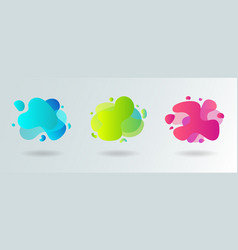 set of abstract modern flowing liquid shapes vector image